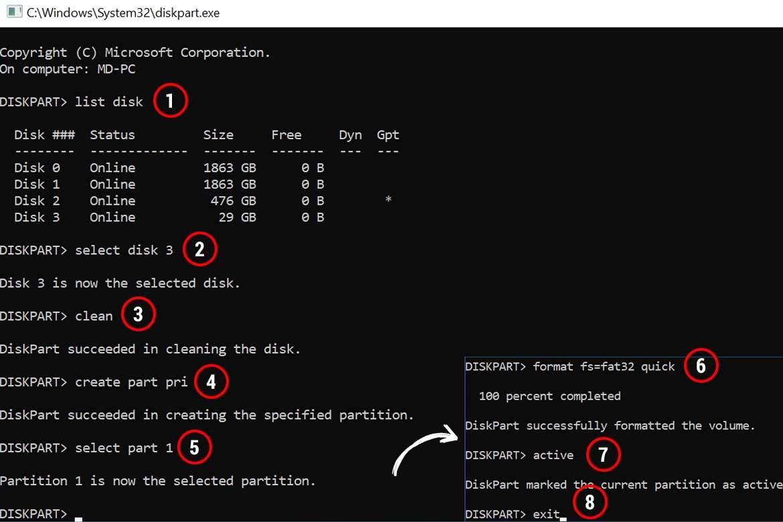 Diskpart ile Önyüklenebilir Windows Server 2019 USB oluşturmak